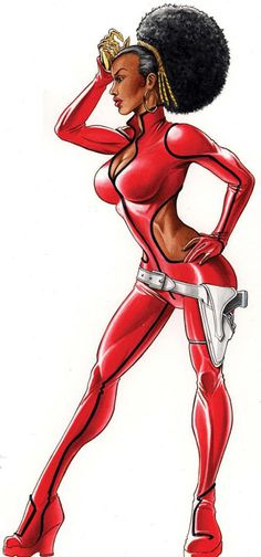 Crime fighting African American superhero in red, black and Afro!
