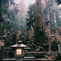 okunoin, the largest graveyard in japan, located in koyasan.