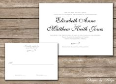 Classic Elegant Black and White Printable Wedding by RobynDesigns, $35.00