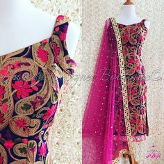 Another colour available in kashmiri work. Navy blue shirt, multi shade work along with hot pink combination. This piece can be made in any… Punjabi Designer Boutique, Designer Punjabi Suits, Indian Designer Wear, Salwar Designs, Kurti Designs Party Wear, Blouse Designs, Pakistani Dresses, Indian Dresses, Indian Outfits