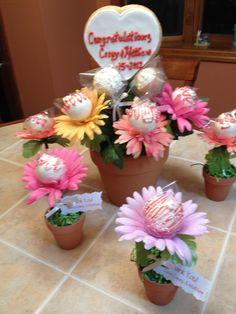Bridal shower cake pops for a garden themed shower