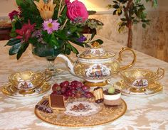Afternoon Tea featuring the Queen's limited edition Diamond Jubilee Buckingham Palace China. From Tea with the Queen's Cousin at my website Hereditea.com. Photo by Lady Glynstewart
