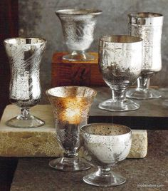 Roost Antiqued Mercury Glass Chalice Tealight Holders, Set/6 – Modish Store