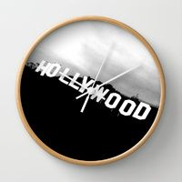 Wall Clock featuring Hollywood Sign by DM Davis