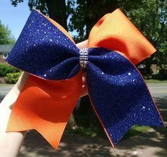 Orange and Blue Cheer bow orange softball bow by CraftyOhBows