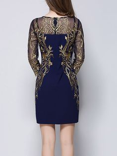 Dark Blue Casual Embroidered Floral Mini Dress