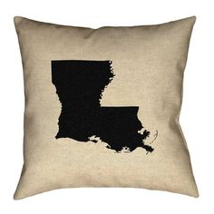 "Ivy Bronx Austrinus Louisiana Cotton Throw Pillow Size: 26"" x 26"", Fill Material: Poly Twill, Color: Black"