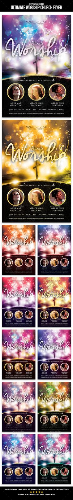 Ultimate Worship Church Flyer Template #design Download: http://graphicriver.net/item/ultimate-worship-church-flyer/12632499?ref=ksioks