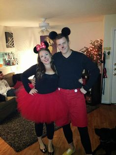 DIY: MINNIE & MICKEY MOUSE COSTUME: Minnie: (Tutu supplies) 3 spools of red tulle 1 spool of red ribbon For the tutu I used a method similar to this.   Mickie: Red Dickie's pants (from Goodwill, cut into shorts) 2 white large buttons (glued on with fabric glue) Mickey Mouse ears (ordered from Target.com)