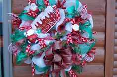 Santa Claus North Pole Dec Mesh Wreath by HangingTouches on Etsy, $149.00