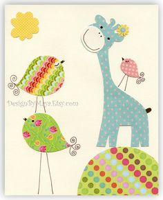 Baby girl Room Decor Nursery Art baby giraffe by DesignByMaya, $17.00