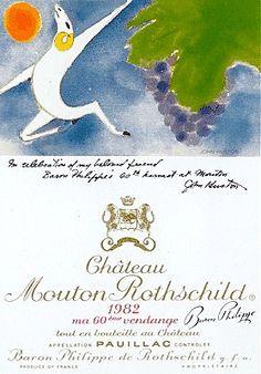 Château Mouton Rothschild 1982 - 1st Growth - Pauillac / Bordeaux / France. Average Score : 96,83/100 (9 critics). Parker : 100/100, International Wine Cellar : 98/100, Wine Spectator : 98/100, Jancis Robinson : 18/20, Revue des vins de France : 19/20, Vintage Tastings : 97/100 ... Label painted by John Huston, the film director of Casino Royale, but also an accomplished painter.