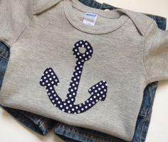 Size 12-18 months - Navy Blue Polka Dot Anchor applique on a Heather Gray Bodysuit - Baby Boy Clothes - Polka Dots