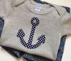 Size 12-18 months - Navy Blue Polka Dot Anchor applique on a Heather Gray Bodysuit - Baby Boy Clothes - Polka Dots