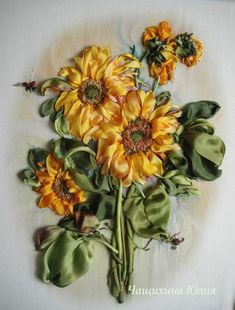Silk Ribbon Embroidery Flowers, so want to learn how to do this!