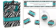 Zebra Teal Bridal Shower Theme - can be personalized and used for any special event! #Zebraparty #BigDot #HappyDot