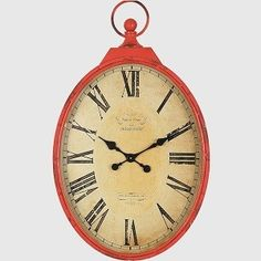 Red Clock | Pocket Watch Wall Clock | Red Kitchen Cloc