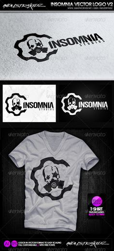 Insomnia Gas Mask - Logo Design Template Vector #logotype Download it here: http://graphicriver.net/item/insomnia-gas-mask-logo/2902087?s_rank=37?ref=nexion