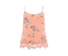 Oasis, BUTTERFLY LACE TRIM CAMI Coral
