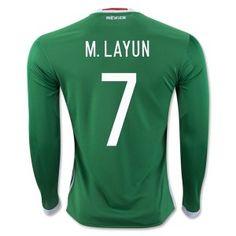 6557026d2 2016 Mexico Soccer Team Home Long Sleeve Green Replica Shirt #7 M. LAYUN [