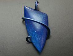 Cobalt Blue Bowlerite Cold Forged Anodised Titanium Pendant