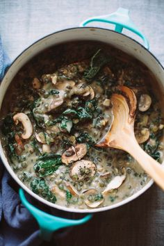 creamy French lentils with mushrooms and kale // via http://thefirstmess.com #vegan