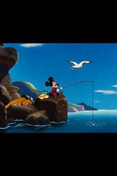 Mickey fishing