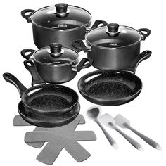 Dine® Kámen Keramické nádobí, 14 ks): Amazon.es: Home Cookware Set, Measuring Cups, Aluminium, Kettle, Kitchen Appliances, Ceramics, Dining, Amazon, Products