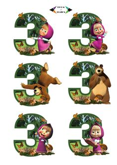 Masha and the Bear printable - Masha and the Bear Number 3 Centerpieces Masha and The Bear Cake Topper, Masha and The Bear Birthday Party Bear Birthday, 3rd Birthday Parties, Birthday Wishes, 2nd Birthday, Masha Cake, Masha Et Mishka, Marsha And The Bear, Bear Decor, Bear Party