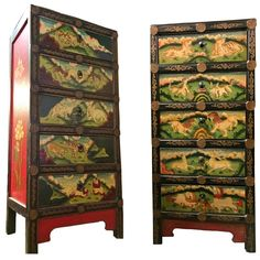 Pair of Hand-Painted Tibetan Chests or Night Stands | From a unique collection of antique and modern furniture at https://www.1stdibs.com/furniture/asian-art-furniture/furniture/