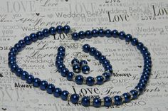 Royal Blue Pearl Necklace Earring Bracelet Set with Bling,Bridesmaid Jewelry Bridal Gift Blue Wedding, Something Blue- BS by BridalTreasures4U on Etsy