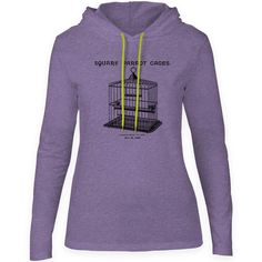 Mintage Parrot Cage Womens Fine Jersey Hooded T-Shirt