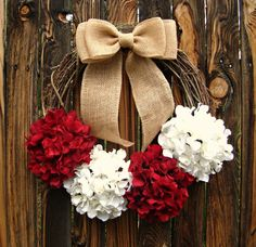 Candy Cane Christmas Wreath  Hydrangea Wreath  by Frontporchdecor, $50.00