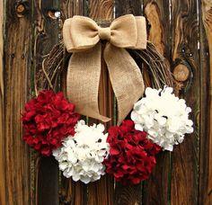 Candy Cane Christmas Wreath  Hydrangea Wreath  by Frontporchdecor, $50.00