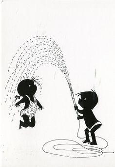 Jip en Janneke playing with the water hose. Belly Paint, Children's Book Illustration, Retro Illustrations, Art Sketchbook, Schmidt, Vintage Children, Bunt, Illustrators, Creations
