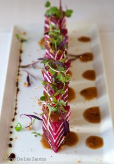 Entertaining| repinned by Serafini Amelia|  ** Roasted Beet & Herbed Goat Cheese Napoleon