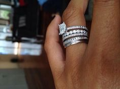 Love, marriage, baby carriage. I love that each ring is different  Stackable diamond rings ♡