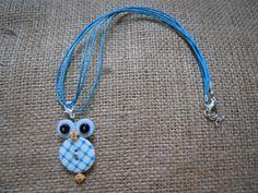 Collana e spilla Gufetto Geometrico AzzurroBianco di Foresta Mentale Chiaresca su DaWanda.com