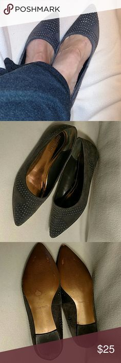 """Ellen Tracy """"Maddy"""" Suede Studded Flats Grey Suede flats with irredescent stud design, good condition, some wear on soles (see photos). Ellen Tracy Shoes Flats & Loafers"""