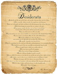 """Desiderata Art Print Inspiration Poem by memoriesemporium on Etsy, $3.99""""I love this, it is on the by my bed"""" :)"""