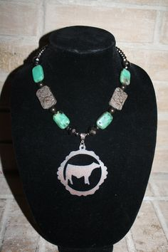 western cattle necklace cowgirl 4H FFA show cattle steer heifer necklace brown & turquoise rustic cattle pendant on Etsy, $26.00