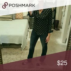 Reserve Listing fpr @jfluff Express Polka Dot Blouse XS Express Tops Button Down Shirts