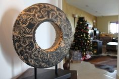 Beautiful 'Wheel of Fortune' Ornament. One of our favorites for sure! A beautiful piece which would add character to any home! Very heavy - made out of artificial stone. Extremely high quality piece.