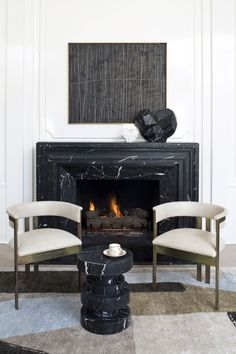luxury living room: 93 Comfy Apartment Living Room in Black and White. Living Room Decor Fireplace, Fireplace Design, Living Room Interior, Living Room Furniture, Fireplace Ideas, Fireplace Candles, Craftsman Fireplace, Cabin Fireplace, Fireplace Modern