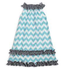 Aqua Chevron Gray Dot Ruffle Neck Dress
