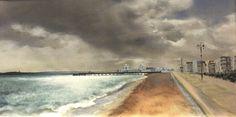 Southsea Seafront Oil, acrylic and raw canvas R.E.Galbraith
