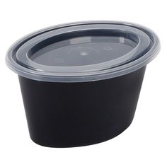 Microwavable 5 oz Black Plastic Oval Portion Cup with lid 500/Case