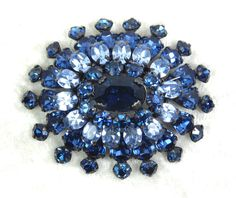 Blue Schreiner Flower Head Brooch, Vintage, Dark Blue & Light Blue Crystal Rhinestones, Japanned Metal, Hook and Eye, Prong Set by imagiLena on Etsy