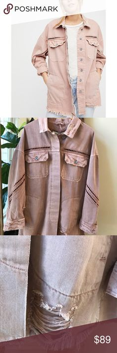 Free people Drive-in Shirt Jacket Size M/L color Dusty Pink Like new condition no stains or odors jacket has a distressed look with  purposeful rips.  Oversized denim shirt jacket featured in a slouchy Silhouette and distressing for a lived in look. Cut work detailing, hidden button closures down the front, raw ham, front bus to pockets and hip pockets Free People Jackets & Coats Jean Jackets