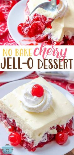 This No Bake Cherry Jell-O Dessert is always a huge hit! It's so easy to make wi… This No Bake Cherry Jell-O Dessert is always a huge hit! It's so easy to make with cherry gelatin, pie filling and a creamy whipped topping! Cherry Desserts, Cherry Recipes, Köstliche Desserts, Delicious Desserts, Cherry Pies, Cherry Cherry, Frozen Desserts, Gourmet Recipes, Baking Recipes